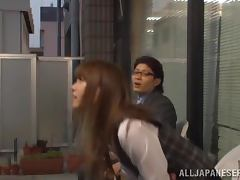 Hot Asian office chick undresses and have sex with colleagues