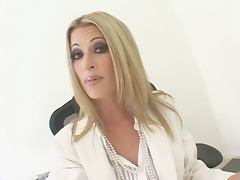 Sexy blonde Lauren Kain blows and takes a ride on a huge black cock