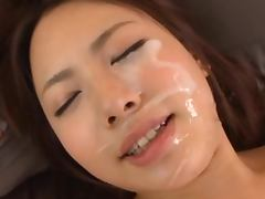 Maho is the naughty chick here getting a spunky facial