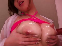 Ai Sayama gives a blowjob and a titjob and gets her meaty pussy pounded