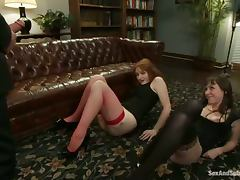 James Deen makes two girls fist each other's vags in BDSM vid