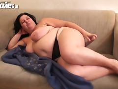 Fat Amateur Mature Slut Renate Zug Masturbates with Big Dildo