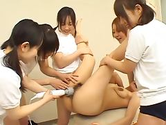 Kinky Japanese chick gets her pussy toyed and licked by her GFs
