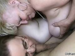 Horny old granny sucking a dick