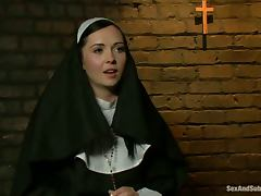 Slutty nun gets tied up and fucked rough by two guys porn video