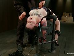 Tattooed Brunette Ruby Reaper Gets Toyed and Hung Upside Down in BDSM Vid