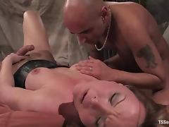 Blonde tranny Danielle Foxxx dominates Diezel and fucks his ass
