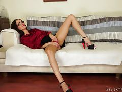 A hottie wakes up on the sofa and gets gangbanged