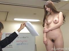 Hypnotized Japanese Beauty Gets Naked in the Office