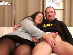 Grandma, Big Cock, Blowjob, Chubby, Couple, Cum in Mouth