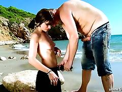 Mandy with pigtils analfucked in front of the sea
