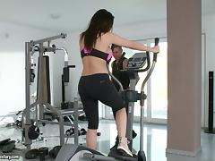 Gym, Big Tits, Blowjob, Brunette, Couple, Cowgirl