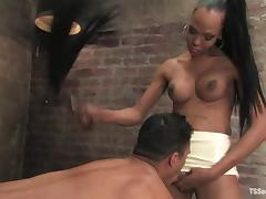 Ebony tranny Foxy drives her BBC into Lobo's black ass
