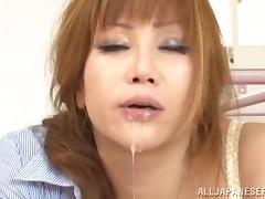 Face fucking for a kinky Japanese sex doll