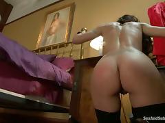 James Deen binds hot brunette Lou Charmelle before tearing her holes up