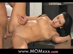 Horny brunette milf gets naked with that stud and fucks him