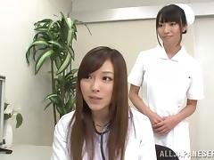 Two sexy Japanese nurses suck a cock in POV video