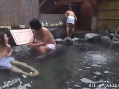 Doggy style in the Japanese sauna with a sassy Asian babe