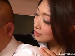Reiko Kobayaka makes out with her man and licks his dick