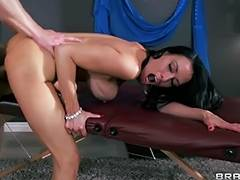 Large ass brunette hair Vanilla Deville has her overweight a hole massaged