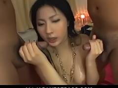 Cum blasted Megumi Haruka sticky lovely on her red sheets