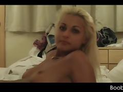 Holiday sex for blonde hottie rubbing loaded cock
