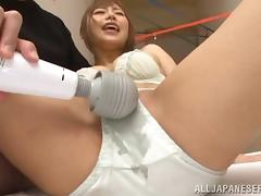 Japanese sweetie gets her coochie toyed and fucked in various positions