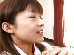Cute Japanes babe sucks on three cocks Uncensored