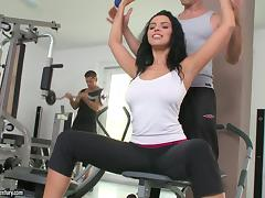 Hot MMF Threesome with DP Action for Brunette with Big Natural Tits