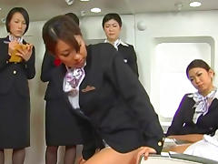 Asian business woman is sucking in the plane