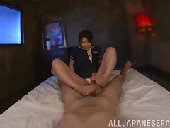 Stewardess is giving a divine footjob