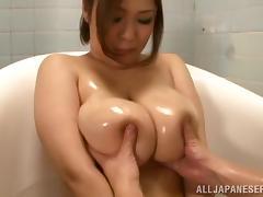 Reiko Yumeno gets her huge tits kneaded before sucking a dick