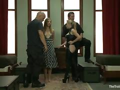 Bonded girl sucks a cock and gets fucked with strap-on