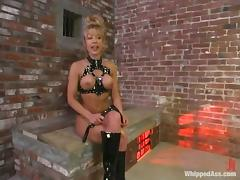 Janay gets whipped by blonde mom Kathleen in a basement