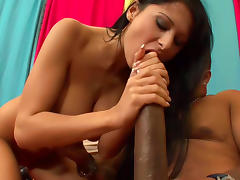 Pretty babe is fucking with incredible giant monster cock