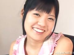 Kana Aono gives deepthroat blowjob and gets a facial