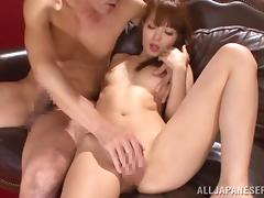 Rina Ishihara pets her man before taking his dick in her Japanese vag