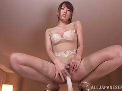 Sexy Asian Babe Masturbates with Toy Before POV Blowjob for Jizz