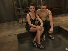 Male Sex Slave Tied Up and Forced to Fuck The Dominant Bitch's Pussy Hard