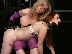 Redhead one is fucking with mature blonde