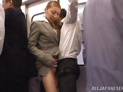 Japanese skank makes out with a stranger in a bus and rubs his dick porn video