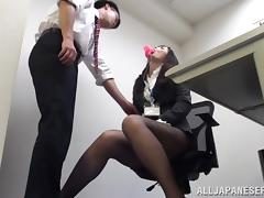 Stunning Japanese office girl gets nailed at workplace
