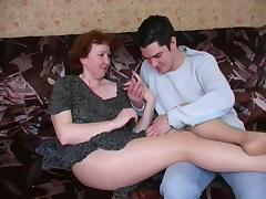 Russian mature mom in pantyhose and her boy! Amateur! porn video