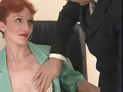 Thin, Short Haired Redhead Banged In The Office porn video