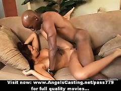 Stunning sexy redhead babe with big fake tits doing blowjob