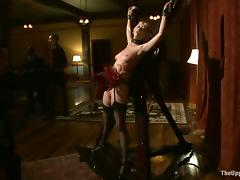 Two sexy blondes get mouth-fucked in a cute BDSM video