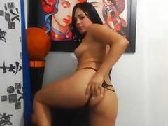 admirable looking latin playgirl fucks her self every which way but loose