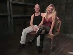 Shemale master fucks her male slave in bondage