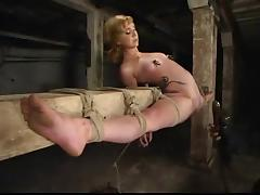 Blonde in overextended bondage porn video