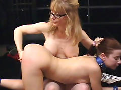 Lesbian milf is spanking her slave